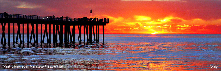 red sky over hermosa beach